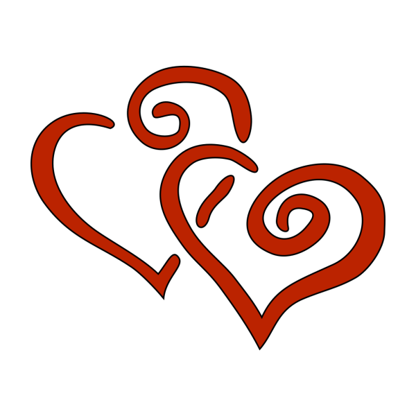 Red Curly Hearts PNG Clip art