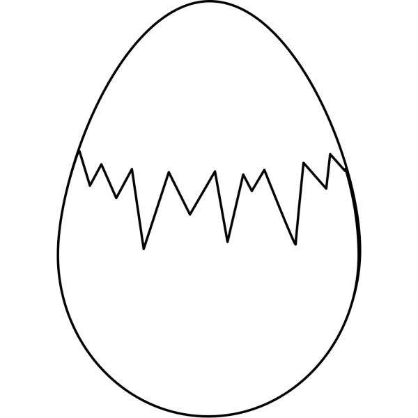Easter Egg White With Fracture PNG Clip art