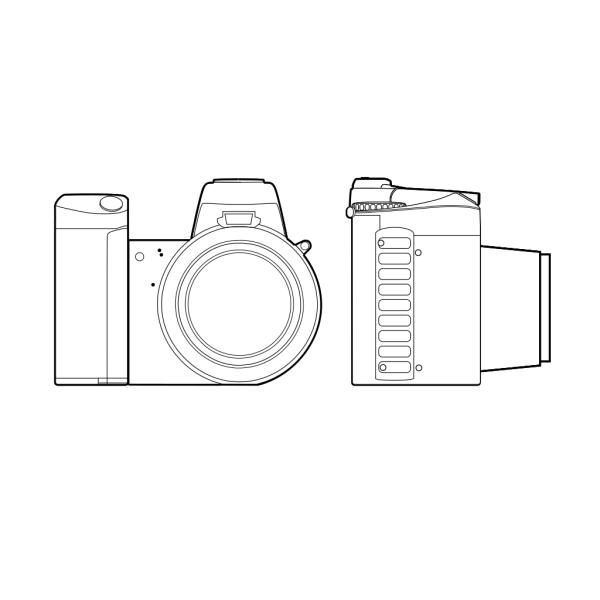 Dslr Camera Outline PNG Clip art