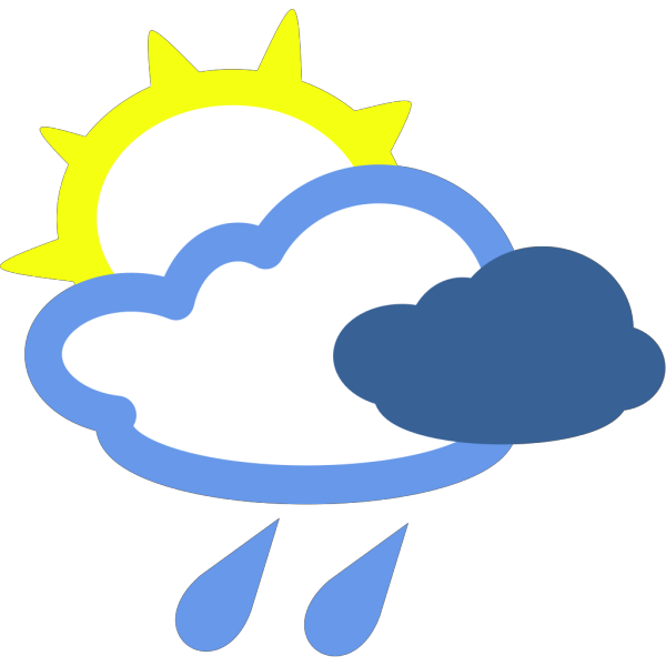 Sun And Rain Weather Symbols PNG Clip art