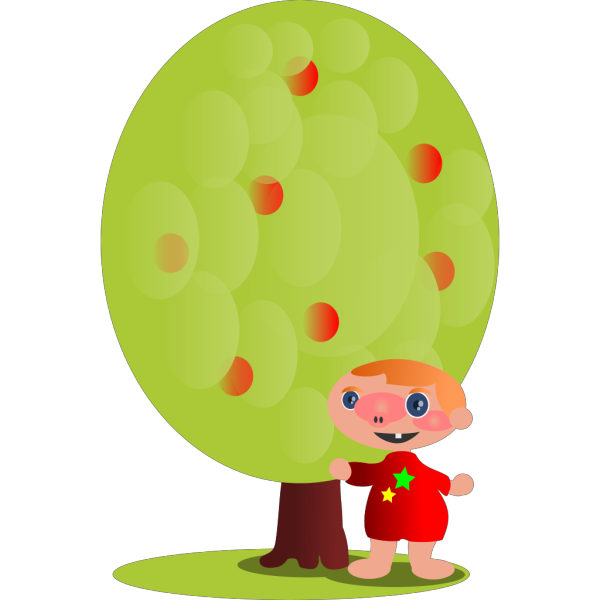 Red Fruit Tree With A Baby PNG clipart