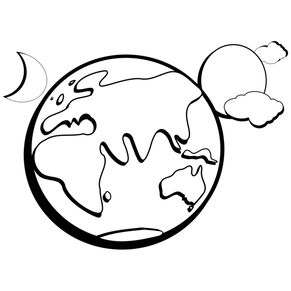 Earth Moon Sun Outline PNG Clip art