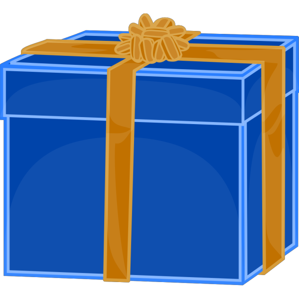 Blue Gift With Golden Ribbon PNG clipart