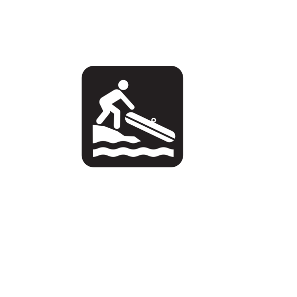 Hand Launch Small Boat Launch Black PNG Clip art