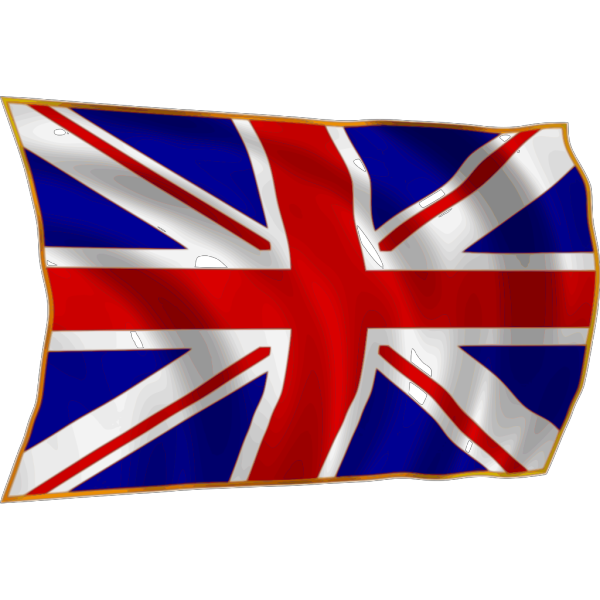United Kindom Union Flag Fluttering In Breeze PNG Clip art