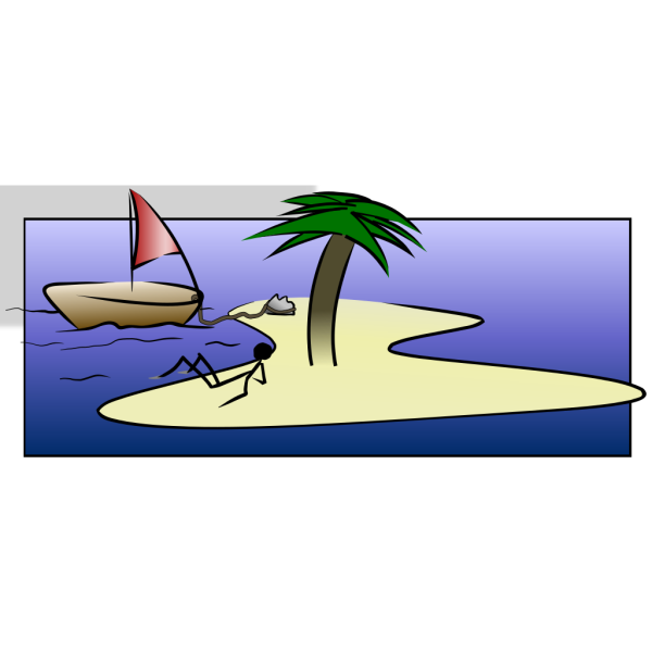 Stick Man Laying On Island PNG Clip art
