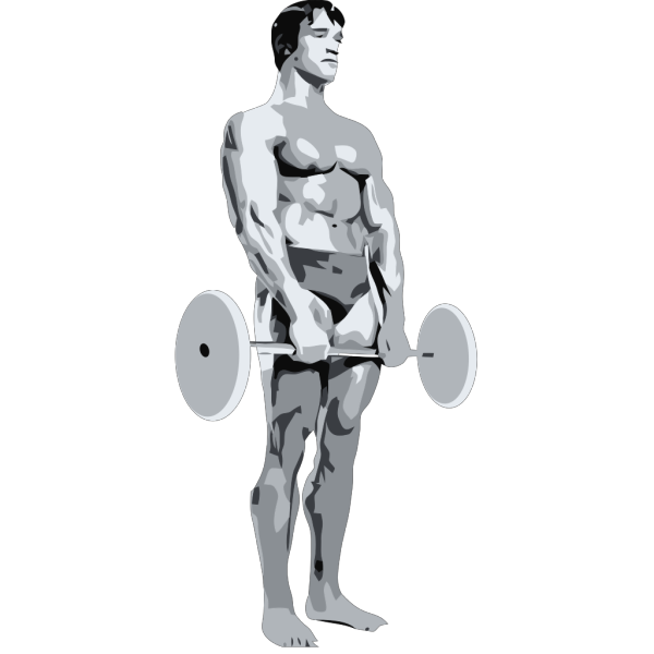 Standing Body Builder Carrying Weights PNG Clip art