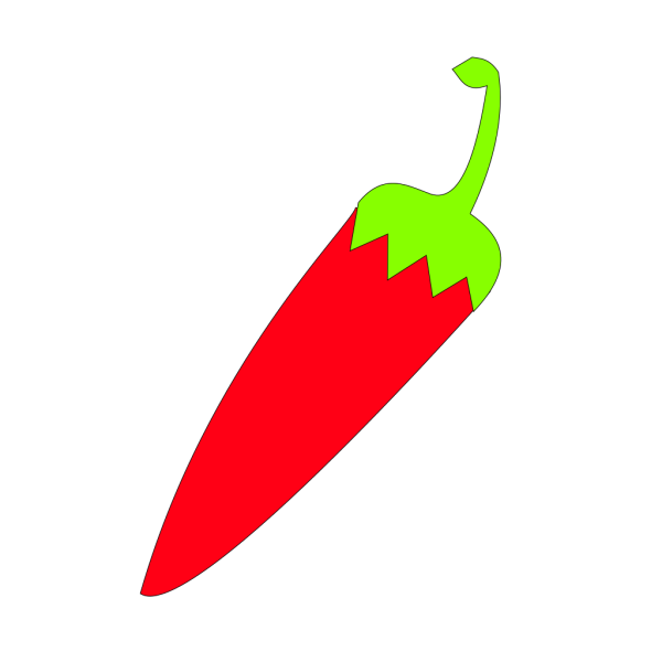 Red Chili With Green Tail PNG Clip art