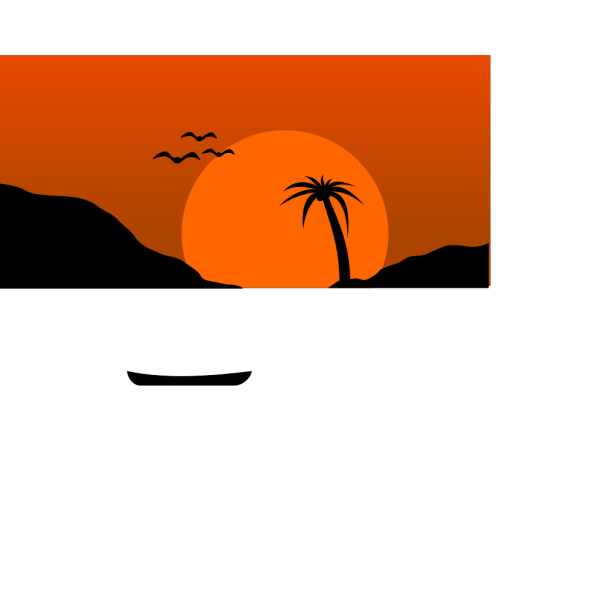 Sunset Water Scene PNG Clip art