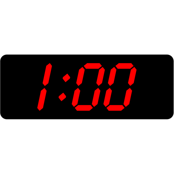 Digital Clock 1:00 PNG Clip art