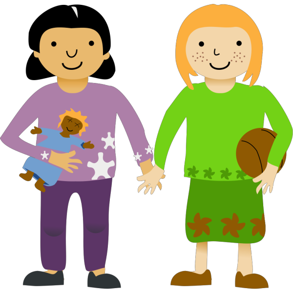 Two Little Girls PNG Clip art