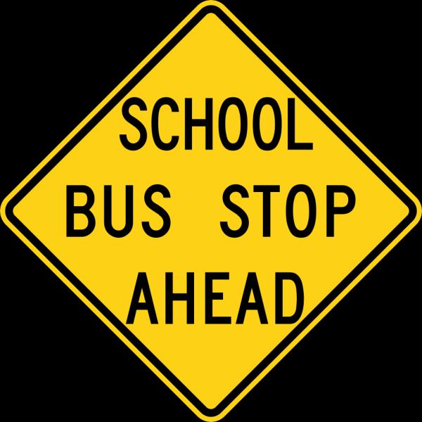 School Bus Stop Ahead Sign Fluorescent PNG Clip art