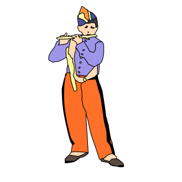 Kid Playing Flute PNG Clip art