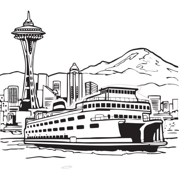 Space Needle And Ferry PNG images