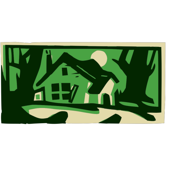 House In The Woods At Night PNG Clip art