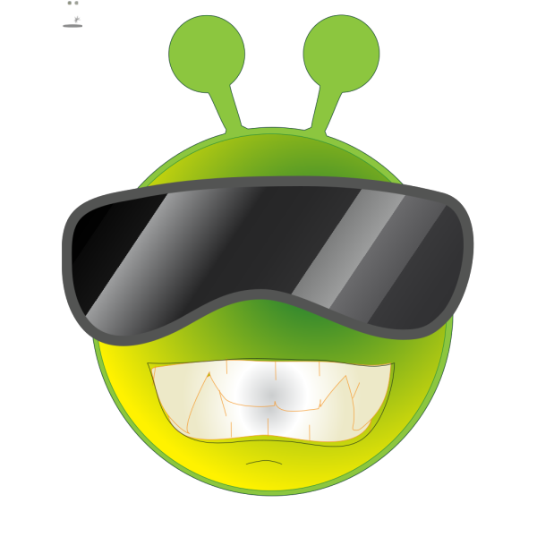 Smiley Green Alien Cool PNG Clip art