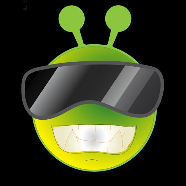 Smiley Green Alien Cool PNG Clip art