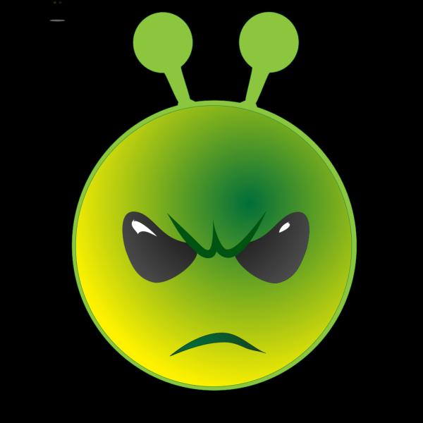 Smiley Green Alien Unhappy PNG Clip art