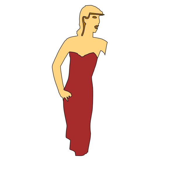 Cartoon Lady Wearing Fashion Dress PNG Clip art