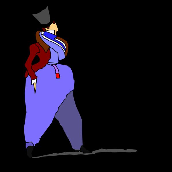 Cartoon Lady Walking In Fashion Dress PNG Clip art