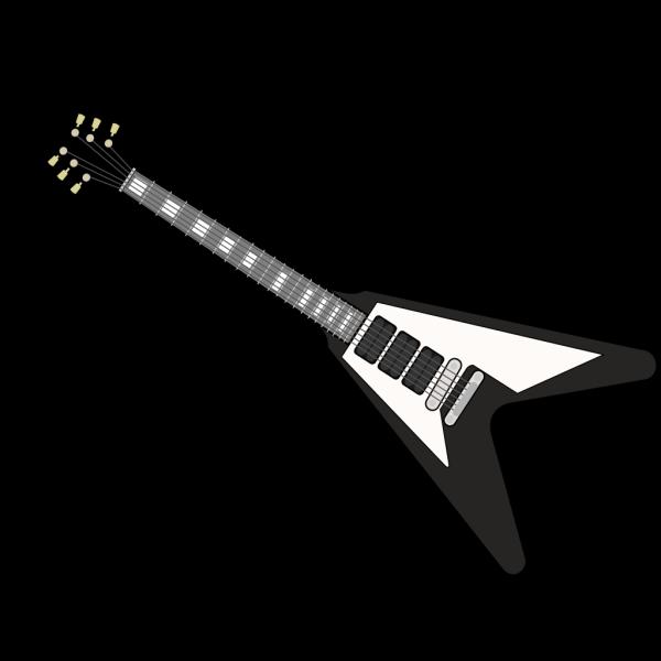 Black Flying V Guitar PNG Clip art