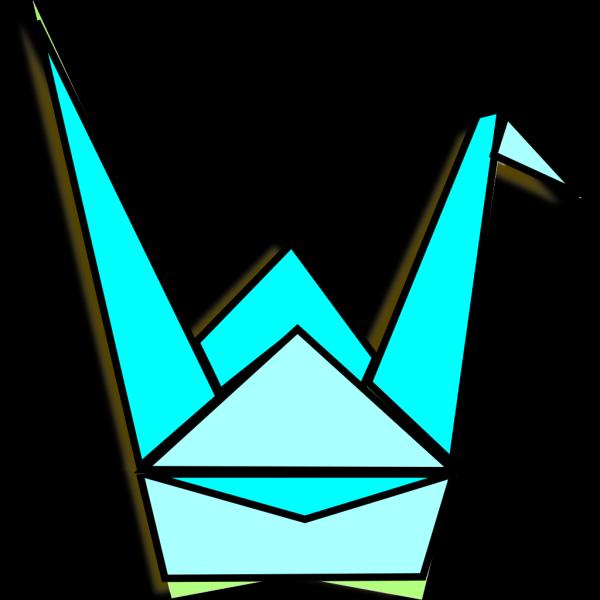 Blue Origami Crane PNG Clip art
