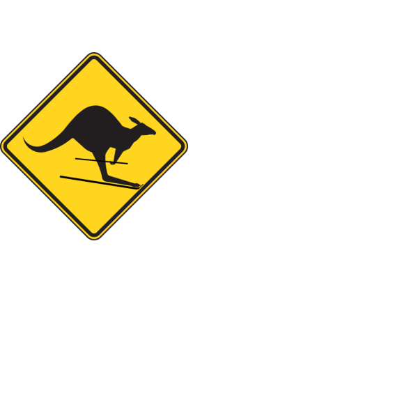 Skiing Kangaroo Warning Sign PNG Clip art