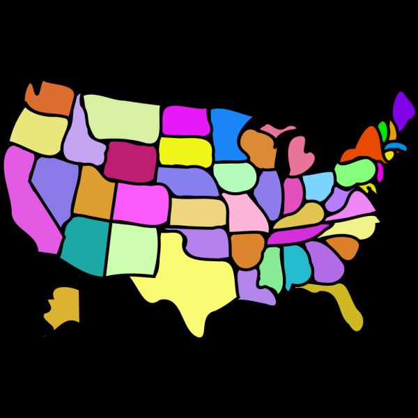 Cartoony Colored Usa Map PNG Clip art