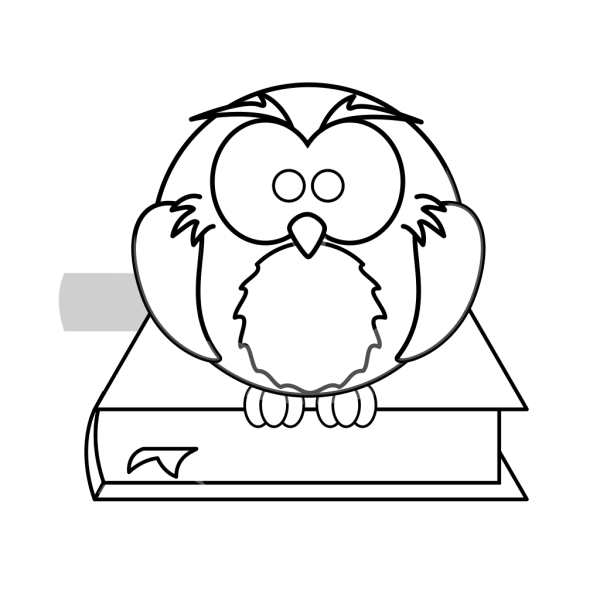 Owl On Book Black And White PNG Clip art