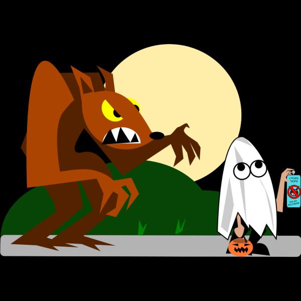 Werewolf Chasing Kid PNG Clip art