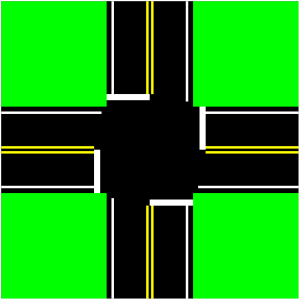 Four Way Intersection PNG Clip art