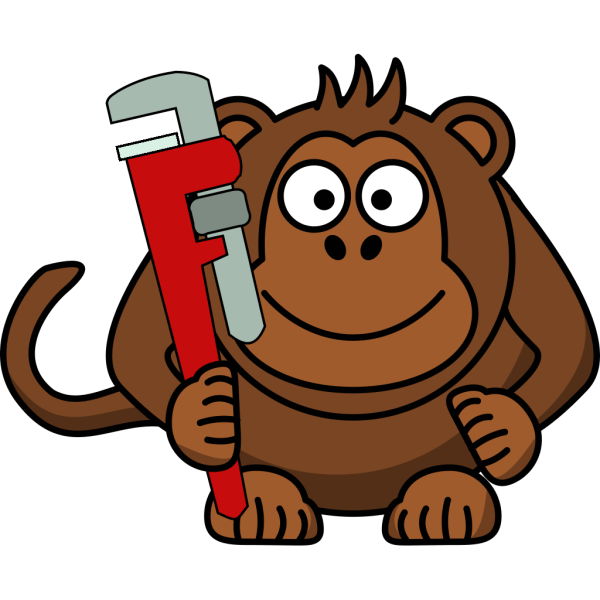 Cartoon Monkey With Wrench PNG Clip art
