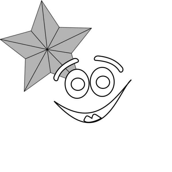Smiling Star Outline PNG clipart