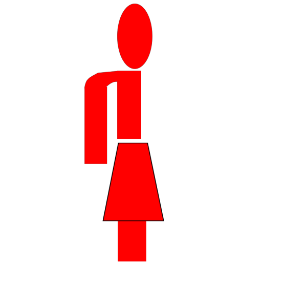 Half Red Lady Stick Figure PNG Clip art