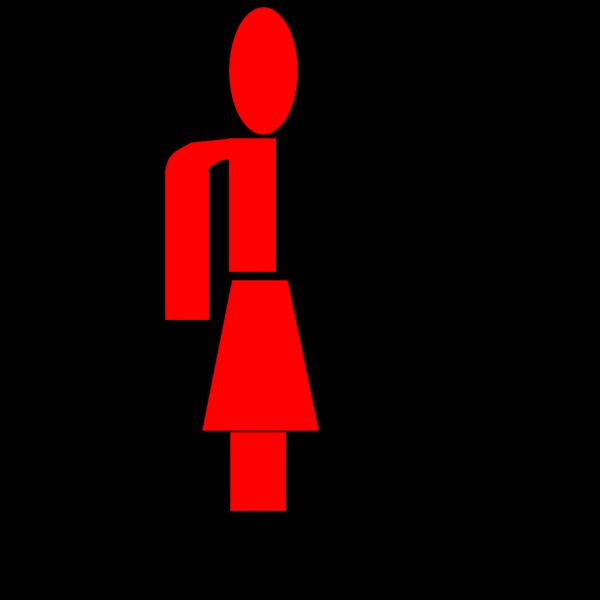 Half Red Lady Stick Figure PNG Clip art