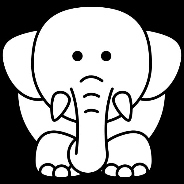 Cartoon Elephant Bw PNG Clip art