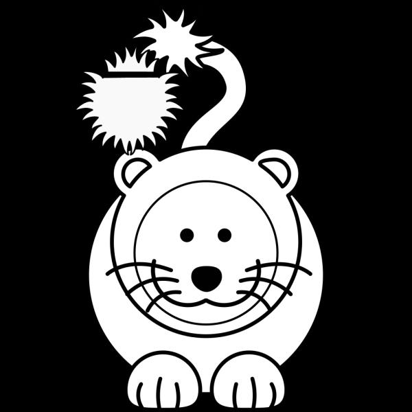 Cartoon Lion Bw PNG Clip art