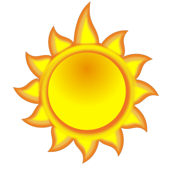 A Sun Cartoon With A Long Ray 3 PNG Clip art