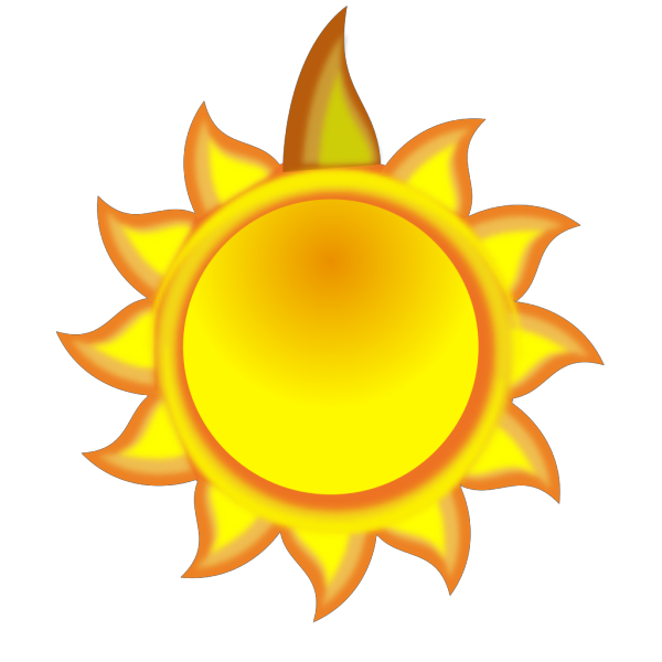 A Sun Cartoon With A Long Ray Red PNG Clip art