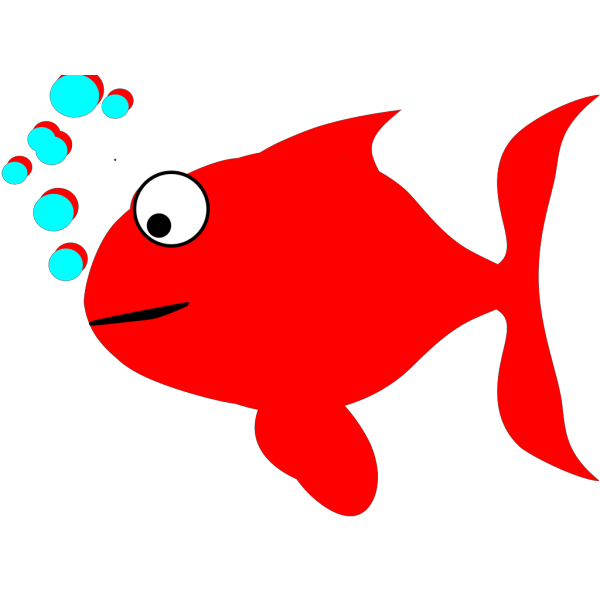 Red And Turquoise Fish PNG clipart