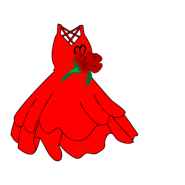 Red Dress And Roses PNG Clip art