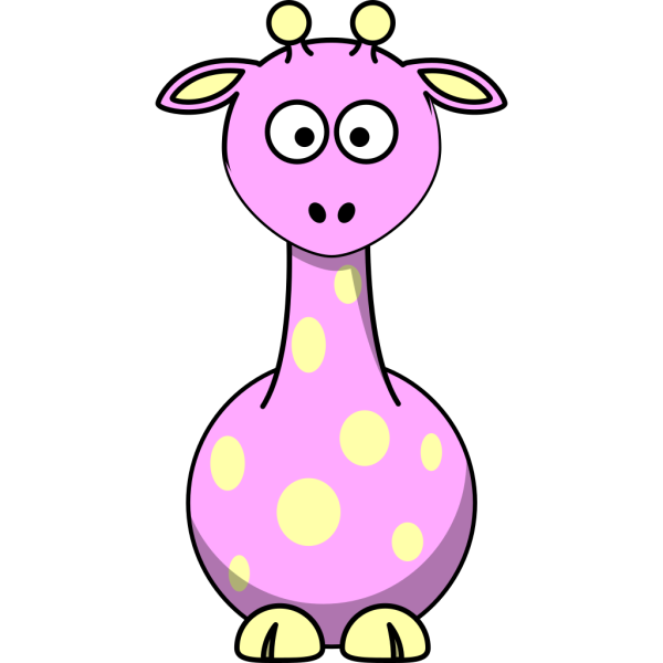 Pink Giraffe With 12 Dots PNG Clip art