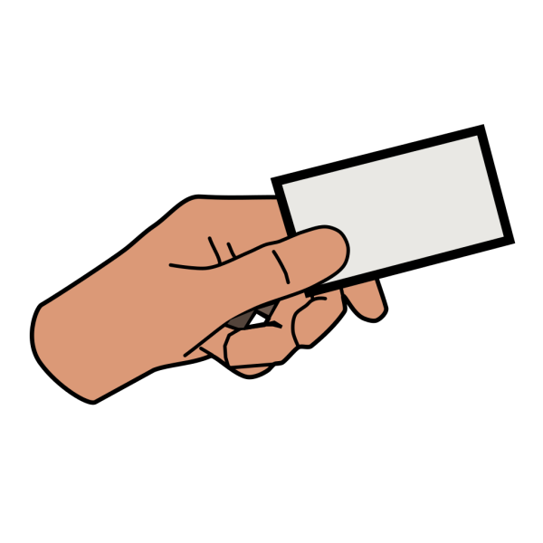 Simple Cartoon Hand Holding Card PNG icon