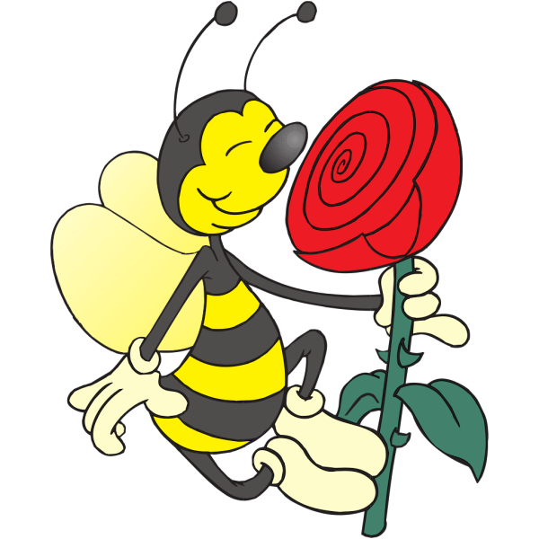 Bee Smelling Flower PNG Clip art
