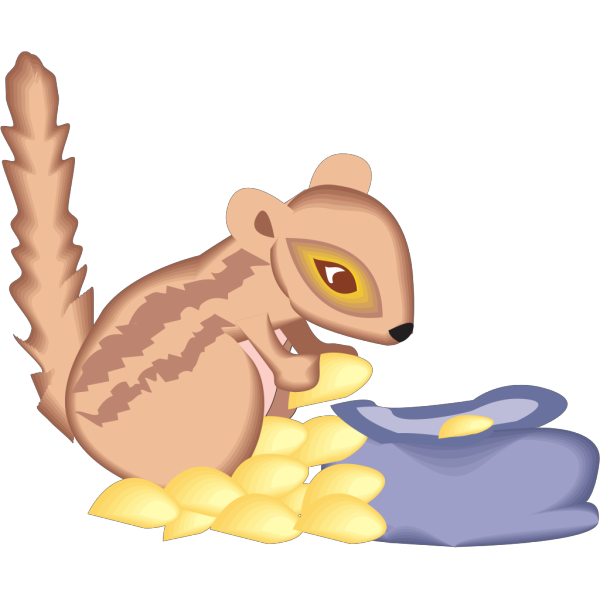 Chipmunk With A Bag Of Seeds PNG Clip art