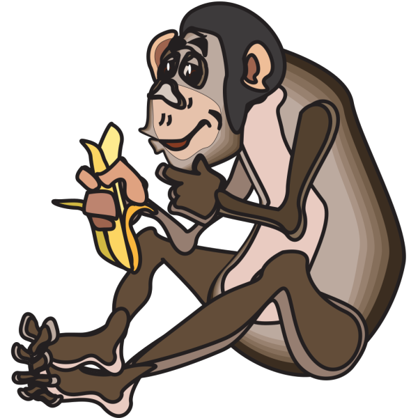 Chimp Eating A Banana PNG Clip art