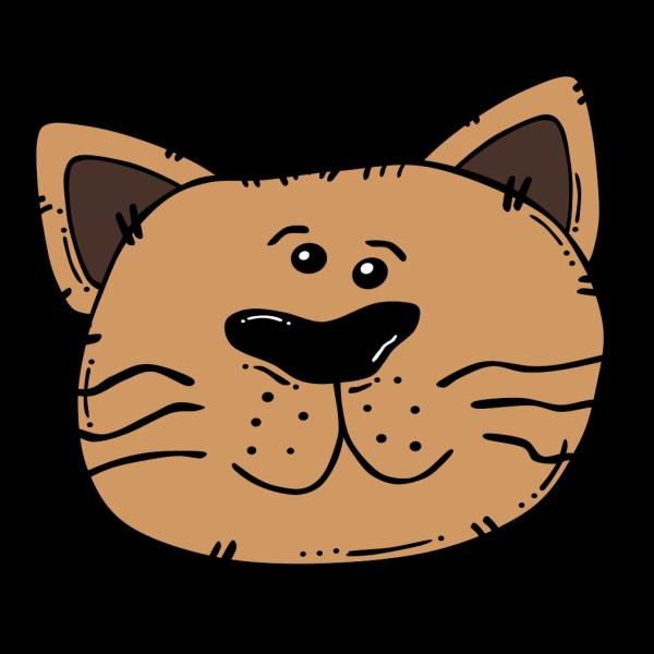 Brown Cartoon Cat Face PNG Clip art