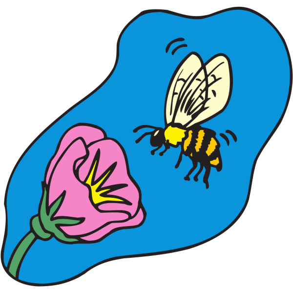 Bee With Flower PNG Clip art