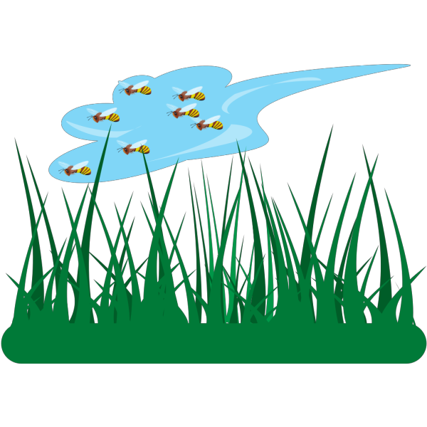 Bees Flying Over Grass PNG Clip art