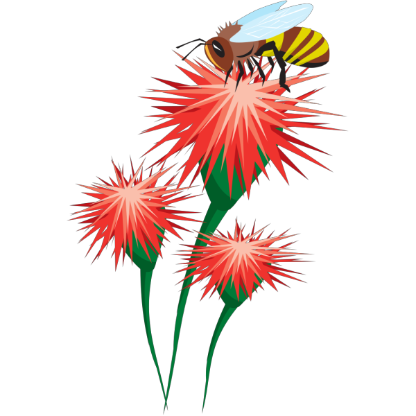 Bee On A Flower PNG Clip art
